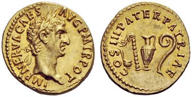 Lot 15: Nerva aureus, 97. Estimate CHF 60,000.