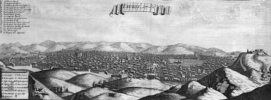 Täbriz. Aus dem Journal du voyage de Chevalier Chardin von 1687. Quelle: Wikipedia.