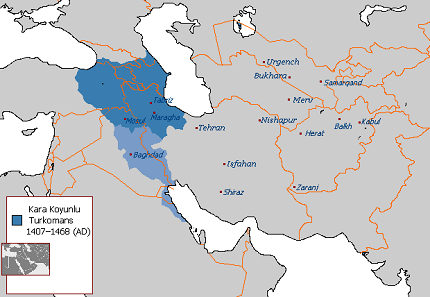 Speaking of which: territories of the Black Sheep Turkomans. Source: Arab League / Wikipedia.