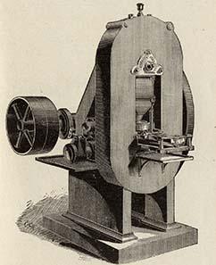 Verbesserte Münzpresse nach dem Prinzip der Uhlhornschen Kniehebelpresse.