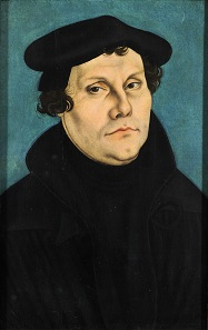 Martin Luther. Porträt von Lucas Cranach d.Ä., 1528.