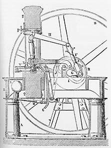 Skizze zur Funktion der Kniehebelpresse.