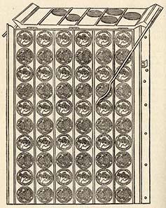 Das Zählbrett diente der schnellem Zählen der geprägten Münzen.