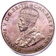Lot 29458: Australia, George V, penny, 1930-M. KM23. AU50 PCGS. Realized: $70,500.
