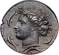 Lot 29025: Sicily, Syracuse, Dionysius I, decadrachm, ca. 400 BC. Gallatin 37 (DII - RIX). SNG Lloyd 1413 (same dies). HGC 2, 1299. NGC AU 5/5 - 4/5. Realized: $47,000.