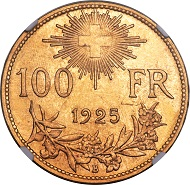 Lot 30924: Switzerland, Confederation, 100 francs, 1925-B. KM39. MS66 NGC. Realized: $27,025.