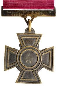Lot 4972: Australia, Victoria Cross, L.C. Weathers 43rd Bn Aus. Imp. Force. 1918. Estimate: $500,000 / Realised: $596,250.