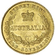 Lot 1127: Australia, Queen Victoria, Roman I type, Sydney, half sovereign, 1864. Estimate: $15,000 / Realised: $23,850.