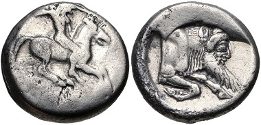 Lot 49: SICILY, Gela. Circa 490/85-480/75 BC. Didrachm. Jenkins, Gela, Group Ic, 69A (O21/R32A); HGC 2, 363. From the Colin E. Pitchfork Collection. VF. Estimate $300.