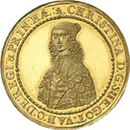 RIGA. 6 ducats 1644. Of utmost rarity, extremely fine to brilliant uncirculated. Estimated at 30,000 Euros. From the upcoming sale Künker 185 (2011), 6059. - Since 1621 Riga had formed part of the Swedish empire. The ship our plate money came from was transporting Swedish currency to Riga.