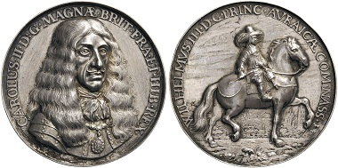 Lot 296: Netherlands, The Dutch Republic, plaquettenpenning, or Hollow medal, 1661, by Pieter van Abeele. Frederick 13b/13c=1f. MI, I, p. 472, 75. Extremely fine. Estimate: 2,250 CHF.