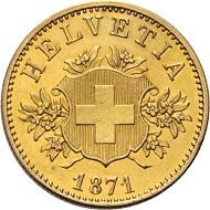 Schweiz. Wappenprobe. 20 Franken 1871. Nur 30 Exemplare geprägt.