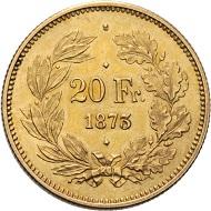 Schweiz. So genannte 3-Punktprobe. 20 Franken 1873, Brüssel.