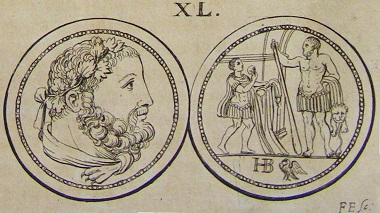 Reversed reproduction of the Hercules medal dies in Claude du Molinet's publication, University Library of Basel, sign. AD I 85:1-2.