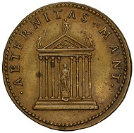 Medal by Giovanni da Cavino on Marco Mantova Benavides (1489-1582), on the reverse bearing a temple aedicula and an inscription summoning the