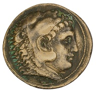Medal on Alexander the Great as Hercules copying a Macedonian tetradrachm, yet exhibiting further motifs of Hercules on the reverse, including the club and the apples of the Hesperides, HBM inv. 2009.180.1.