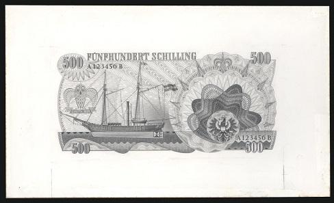 Entwurf für die Rückseite der Banknote zu 500 Schilling 1965, Entwurf von Roman Hellmann. Quelle: Geldmuseum der OeNB.