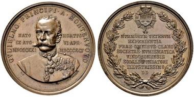 Bronzemedaille 1895. Auf den Tod des Prinzen Wilhelm von Montenuovo, gewidmet von der Numismatischen Gesellschaft zu Wien. Sincona Auktion 29 (2016), Nr. 604.