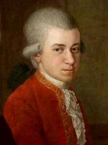 W. A. Mozart, Detail aus einem Gemälde von Johann Nepomuk della Croce (ca. 1781).