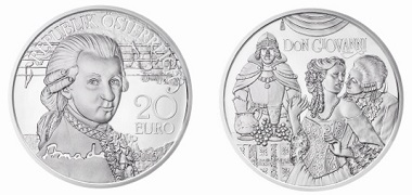 Die neue Mozart-Münze: Österreich / 20 Euro / .900 Silber / 20 g / 34 mm / Design: Helmut Andexlinger, Herbert Wähner / Auflage: 50.000.