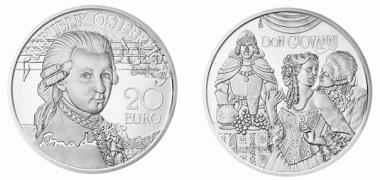 The new Mozart coin: Austria / 20 euro / .900 silver / 20g / 34mm / Design: Helmut Andexlinger, Herbert Wähner / Mintage: 50,000.