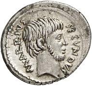 Nr. 92: RÖMISCHE REPUBLIK. M. Arrius Secundus. Denar, 43 v. Chr. Cr. 513/2. Sehr selten. Vorzüglich. Taxe: 10.000 Euro.