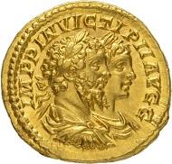 Nr. 136: SEPTIMIUS SEVERUS, 193-211. Aureus, 202-210. Doppelbüsten von Septimius Severus und Caracalla n. r. Aus Auktion Hess-Leu 22 (1963), 211. Sehr selten. Vorzüglich. Taxe: 60.000 Euro.