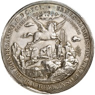Lot 1794: BRAUNSCHWEIG-CALENBERG-HANOVER. Ernest August, 1679-1698. Silver medal 1691 by L. Zernemann on the water works in the gardens of Herrenhausen Palace. Very rare. Extremely fine. Estimate: 6,000 euros.