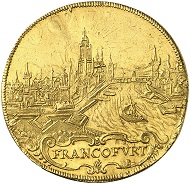 Lot 3188: FRANKFURT. 3 ducats 1648. Very rare. Almost extremely fine. Estimate: 25,000 euros.