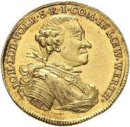 Nr. 3218: LÖWENSTEIN-WERTHEIM-VIRNEBURG. Johann Ludwig Volrad, 1730-1790. Dukat 1769, Wertheim. Äußerst selten. Fast Stempelglanz. Taxe: 15.000 Euro.