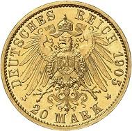 Nr. 3919: MECKLENBURG-STRELITZ. Adolf Friedrich V., 1904-1914. 20 Mark 1905. J. 240. Sehr selten. Polierte Platte. Taxe: 12.500 Euro.
