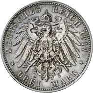 Nr. 4215: SACHSEN. Friedrich August III., 1904-1918. 3 Mark 1917 E.