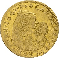 Lot 3545: HOUSE OF SAVOY (Italy). Carlo Emanuele II, 1638-1675, under regency of his mother Christine Marie, 1639-1648. 4 scudi 1642, Chambery. Extremely rare. Extremely fine. Estimate: 60,000 euros.