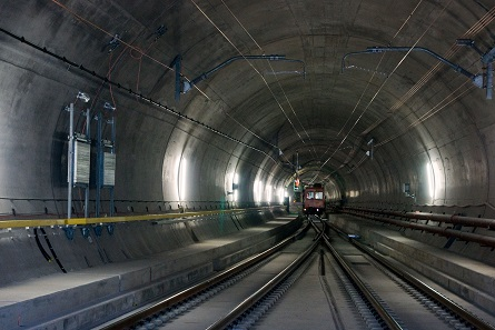 East tunnel of the Gotthard Base Tunnel. Photograph: Hannes Ortlieb / Wikipedia.