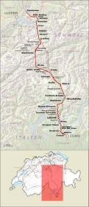 Map of the Gotthard Railway in Switzerland. By Pechristener on the basis of Open Street Map and SBB 2015.svg / Wikipedia.