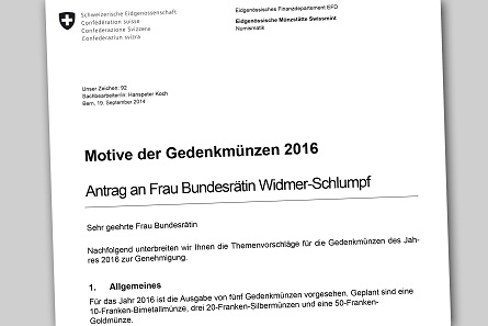 Letter to the Federal Department of Finance FDF, dating from September 19, 2014. © Swissmint.