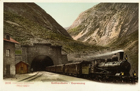 Postkarte des Expresszugs am Gotthard. © ETH-Bildarchiv, Zürich.