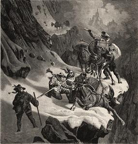Säumerkarawane kämpft gegen Schneesturm. © Xylografie von H. Jenny, Reproduktion. Original: Zeitschrift Gartenlaube, 1862, S. 421.
