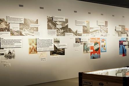 Blick auf die Gotthard-Zeitachse (Ausschnitt). © Schweizerisches Nationalmuseum, Foto Mara Truog.
