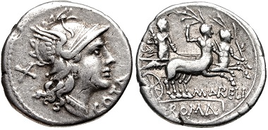 Lot 618: M. Aurelius Cotta. 139 BC. AR Denarius. Rome mint. Crawford 229/1b. VF, toned. From the Nicoleta Collection. Estimate $300.