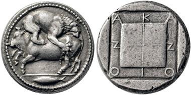 Los 41: Akanthos (Makedonien). Tetradrachme, 480-424. Vorzüglich / Fast vorzüglich. Schätzpreis: 10.000 Euro. Startpreis: 6.000 Euro.