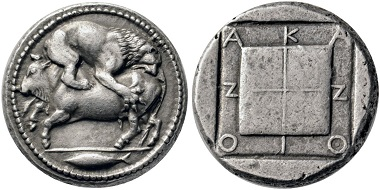Lot 41: Akanthos (Macedonia). Tetradrachm, 480-424. Extremely fine / about extremely fine. Estimate: 10,000 euros. Starting price: 6,000 euros.