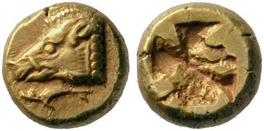 Lot 112: Phokaia (Ionia). Electrum hekte, 625-522. Very rare. Extremely fine. Estimate: 5,000 euros. Starting price: 3,000 euros.