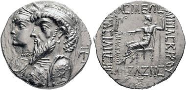 Lot 178: Kamnaskires III, ca. 82-74 (Elymais). Tetradrachm, Seleucia-on-the-Hedyphon. Extremely fine. Estimate: 15,000 euros. Starting price: 9,000 euros.
