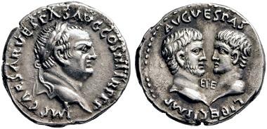 Lot 241: Vespasian, 69-79, with Titus and Domitian. Denarius, 71, Ephesus. Very rare. Extremely fine. Estimate: 3,000 euros. Starting price: 1,800 euros.