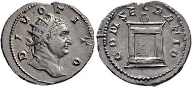 Lot 365: Trajan Decius, 249-251. Consecration coin for Divus Titus. Antoninianus, 250-251, Mediolanum. Unedited variant. Rare. Extremely fine. Estimate: 350 euros. Starting price: 210 euros.