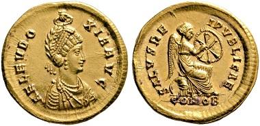 Lot 403: Aelia Eudoxia, + 404. Solidus, 400-402. Rare. FDC. Estimate: 20,000 euros. Starting price: 12,000 euros.