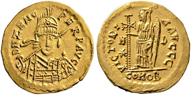 Lot 449: Odoacer, 476-493. Solidus in the name of Zeno, Milan 476-493. Extremely rare. Extremely fine. From the Marc Poncin Collection. Estimate: 7,000 euros. Starting price: 4,200 euros.