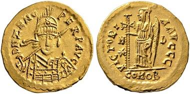 Los 449: Odoakar, 476-493. Solidus im Namen des Zeno, Mailand 476-493. Äußerst selten. Vorzüglich. Aus Sammlung Marc Poncin. Schätzpreis: 7.000 Euro. Startpreis: 4.200 Euro.