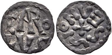 Los 457: Karl der Große, 768-814. Denar, Soissons. Äußerst selten. Vorzüglich. Schätzpreis: 10.000 Euro. Startpreis: 6.000 Euro.